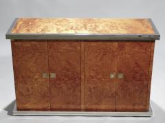 Willy Rizzo Willy rizzo burl chrome and brass small credenza 1970s - 990764