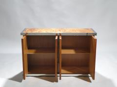 Willy Rizzo Willy rizzo burl chrome and brass small credenza 1970s - 990765