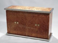 Willy Rizzo Willy rizzo burl chrome and brass small credenza 1970s - 990766