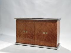 Willy Rizzo Willy rizzo burl chrome and brass small credenza 1970s - 990768