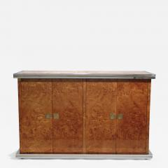 Willy Rizzo Willy rizzo burl chrome and brass small credenza 1970s - 994836