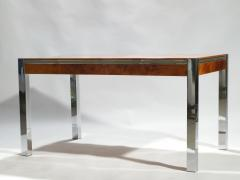 Willy Rizzo Willy rizzo burl chrome brass dining table 1970 s - 993123