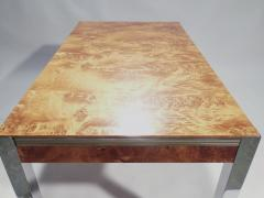 Willy Rizzo Willy rizzo burl chrome brass dining table 1970 s - 993124