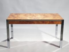 Willy Rizzo Willy rizzo burl chrome brass dining table 1970 s - 993127