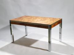 Willy Rizzo Willy rizzo burl chrome brass dining table 1970 s - 993130