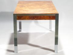 Willy Rizzo Willy rizzo burl chrome brass dining table 1970 s - 993143