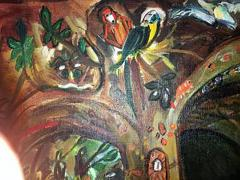 Winona Diskin Signed Large Modern Baroque Ornate Feast Oil Painting Amongst Monkeys and Parrot - 413466