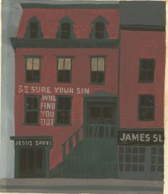 Witold Gordon Witold Gordon Gouache Jesus Saves Vanity Fair - 1542048