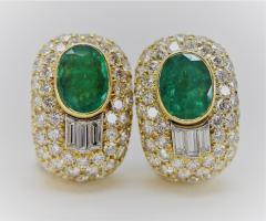 Wonderful David Webb Emerald and Diamond Earrings - 1644707