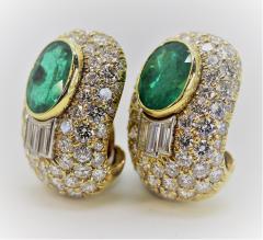 Wonderful David Webb Emerald and Diamond Earrings - 1644727