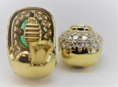 Wonderful David Webb Emerald and Diamond Earrings - 1644729