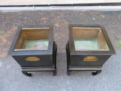 Wonderful Pair of Asian Modern Black Lacquered Planter Copper Inserts - 1454209