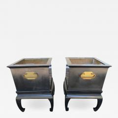 Wonderful Pair of Asian Modern Black Lacquered Planter Copper Inserts - 1456477