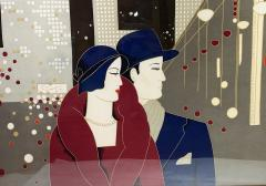 Wonderful Pancaldi Framed Silk Scarf Typical Art Deco Style - 2086007