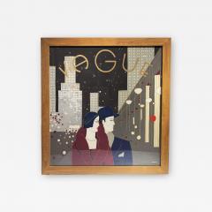 Wonderful Pancaldi Framed Silk Scarf Typical Art Deco Style - 2086176