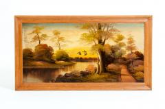 Wood Frame Mid 20th Century Oil Board Painting - 1128809