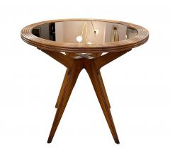 Wood Mid Century Side Table with Mirrored Top - 2113590