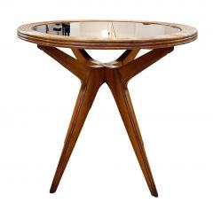 Wood Mid Century Side Table with Mirrored Top - 2113591