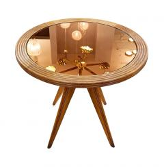 Wood Mid Century Side Table with Mirrored Top - 2113592