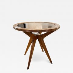 Wood Mid Century Side Table with Mirrored Top - 2116252