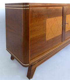 Wooden Art Deco Credenza with Two Tone Pattern Doors - 1121906