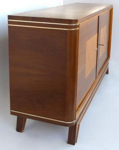 Wooden Art Deco Credenza with Two Tone Pattern Doors - 1121907