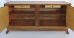 Wooden Art Deco Credenza with Two Tone Pattern Doors - 1121910