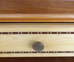 Wooden Art Deco Credenza with Two Tone Pattern Doors - 1121913