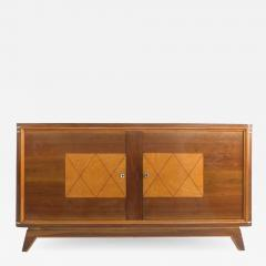 Wooden Art Deco Credenza with Two Tone Pattern Doors - 1122640