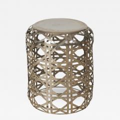 Woven Diamond Twill Pattern Stainless Steel Side Table - 1565932