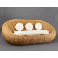 Woven Rattan Oval Shaped Couch 1970s - 1306695