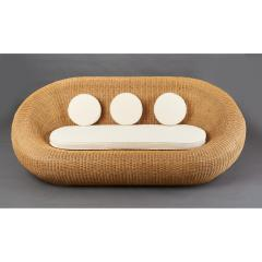 Woven Rattan Oval Shaped Couch 1970s - 1306696