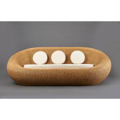 Woven Rattan Oval Shaped Couch 1970s - 1306697