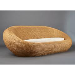 Woven Rattan Oval Shaped Couch 1970s - 1306699