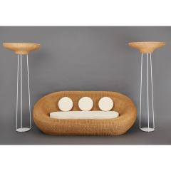 Woven Rattan Oval Shaped Couch 1970s - 1306701