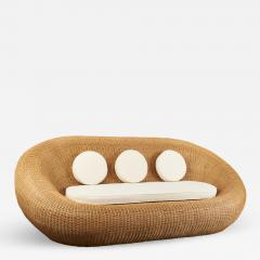 Woven Rattan Oval Shaped Couch 1970s - 1309117