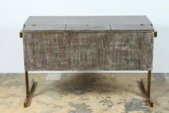 Writing File Desk in Ceruse Walnut and Aged Brass - 1373643