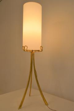 Wrought Iron Gilded Foorlamp with Silk Covered Shade 1940s  - 1036802