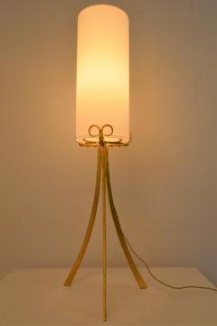 Wrought Iron Gilded Foorlamp with Silk Covered Shade 1940s  - 1036803