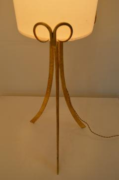 Wrought Iron Gilded Foorlamp with Silk Covered Shade 1940s  - 1036808