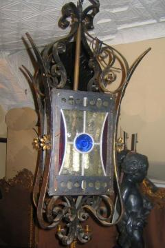 Wrought Iron Lantern with Leaded Glass Insets - 657373
