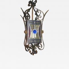 Wrought Iron Lantern with Leaded Glass Insets - 657623