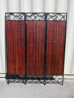 Wrought Iron and Bamboo Slat Three Panel Screen - 216806