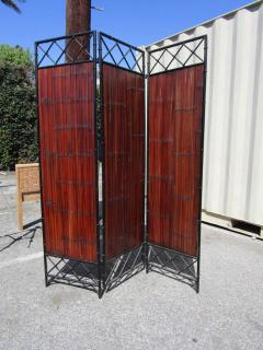 Wrought Iron and Bamboo Slat Three Panel Screen - 216808