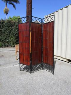 Wrought Iron and Bamboo Slat Three Panel Screen - 216809