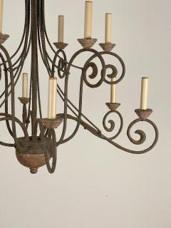 Wrought Iron and Wood Chandelier - 1405228