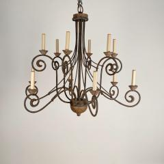Wrought Iron and Wood Chandelier - 1405229