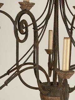 Wrought Iron and Wood Chandelier - 1405230
