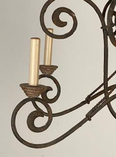 Wrought Iron and Wood Chandelier - 1405231