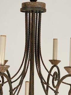 Wrought Iron and Wood Chandelier - 1405232
